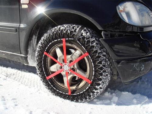El uso de cadenas de nieve